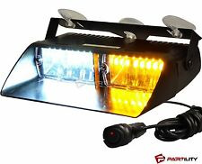16 LED Amber White Light Emergency Car Vehicle Warning Strobe Flashing Yellow