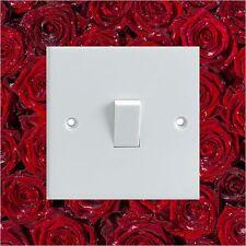 Mojada Rosas Rojas patrón Eléctrica Interruptor De Luz envolvente Impreso pegatina de vinilo