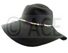 Womens Straw Summer Hats Ladies Wide Brim Bead Detail Black Sun Floppy Hat