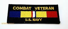 US NAVY COMBAT ACTION RIBBON VETERAN HAT PATCH MILITARY BADGE PIN UP USS FMF WOW
