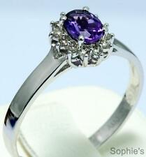 Natural Oval Amethyst & Diamond Victorian Engagement Ring 14K White Gold Size S