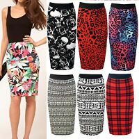 New Ladies Army Camo Skull Rose Tartan Polka Leopard Midi Pencil Skirt Plus Size