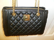 New Love Moschino Italy Black Quilted Polyurethane Satchel/Shoulder Bag/Purse