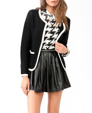 Forever 21 H/M Black White Contrast Trimmed Open Medium Knit Cardigan Size S