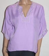 zahir Designer Purple SILK Beaded Short Sleeve Blouse Top Size S BNWT #si10