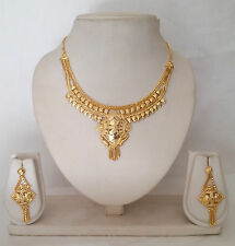 Indian Bollywood Fashion Jewelry Designer Gold Plated Necklace Earring Set