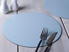 Set di 4 Blu Pastello ROUND CUOIO RIGENERATO tovagliette leatherboard tablemats