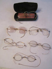 LOT OF 6 VTG EYE GLASSES & SPECTACLES -GOLD FILLED & GOLD PLATED IN OLD KENT BOX