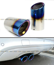 DIRECT SLIDE ON NEO CHROME BURNT STEEL MUFFLER EXHAUST TIPS FOR 2008-15 VW CC