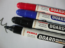 4 x ZEBRA LARGE WHITEBOARD DRY WIPE MARKER PENS BULLET TIP - MIXED COLOURS
