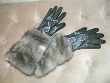 GRAY BLUE IRIS MINK FUR BLACK LEATHER GLOVES Sz.S Нoрка-Nerz-Visone-貂皮
