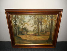 Old oil painting,{ Cottage in the woods, is signed and dated}.