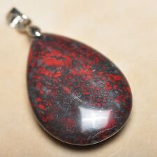 """Extremely Red Natural Bloodstone Jasper 925 18K WG Clasp 1.5"""" Pendant #P12898"""