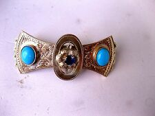 ANTIQUE RUSSIAN 56 YELLOW-PINKISH GOLD ENGRAVED HAIR PIN with GEMS,RIGA,19c.