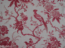 "SANDERSON  CURTAIN FABRIC DESIGN ""Pillemont Toile"" 3.6 METRES LINEN/CERISE"