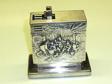 AUGUSTA TABLE WICK LIGHTER - DENMARK SILVER CASE WITH RELIEF - 1952 - GERMANY