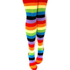 Fashion Women Regular Cotton Thigh Warm Rainbow Striped Knee Legging Stockings