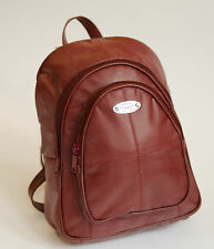 New Strong Leather Small Zipped Rucksack/Handbag Dark Beige, Burgandy Red