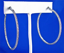 STAINLESS STEEL IN & OUT CHANNEL SET CRYSTAL ROUND HOOP EARRINGS