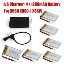 6x 3.7V High 1200mAh Battery+6in1 Charger for Syma X5SC-1 X5SW X5SC RC Drone
