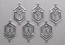 #3008 ANTIQUED SS/P 2 RING CELTIC STYLE CONNECTOR - 6 Pc Lot