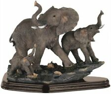 10 inch Gray Elephant w/ Family Nature Wildlife Animal Statue Collectible Wild