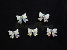 (5pcs) nail art crystal 3D ribbon rhinestone charms acrylic gel designs A177
