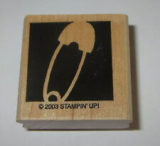 Diaper Pin Rubber Stamp Baby Stampin' Up! Background Retired Wood Mounted Babies