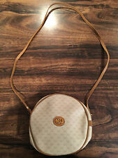Vintage Gucci Canteen Round Monogram Canvas & Leather Crossbody Bag Italy RARE!