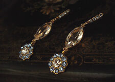 Vintage Light Blue Sapphire Crystal Drop Hook Pierced Earrings