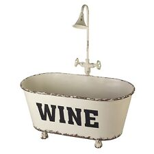 White Ivory Champagne Wine Cooler Ice Bucket Holder Bath Ornament Vintage Style