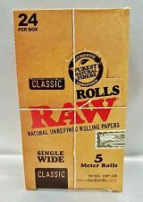 Full Box Raw Classic Single Wide Natural Unrefined 5 Meter Rolls Rolling Papers