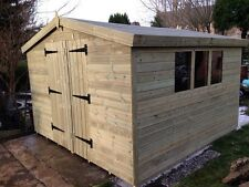 GARDEN SHED TANALISED HEAVY DUTY 10X10 APEX 13MM T&G.  3X2.