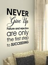 Never Give Up Motivational Quotes wall vinyl decals stickers Art Wall Graphics