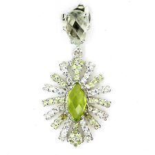 NATURAL PERIDOT-GREEN AMETHYST &CZ 14K on 925 SILVER PENDANT NECKLACE Chain Free