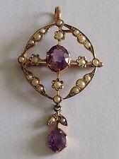 Hermoso Antiguo Oro 9ct Victoriano amatista conjunto de perla semilla & Colgante-Broche
