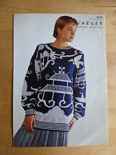 "Big Bold Knitting Pattern for Stylish Willow-Pattern Sweater, d.k., 34-40"" Bust"