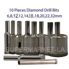 6-32mm 10 PCS Diamond Coated Tool Drill Bits Hole Saw Marble Glass Tile Ceramic