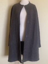 EILEEN FISHER CHARCOAL BOILED WOOL KIMONO CALF LENGTH  COAT SIZE XL