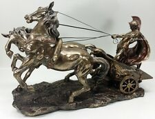 """LARGE 25"""" Medieval Times ROMAN GLADIATOR CHARIOT Sculpture Statue Bronze Finish"""