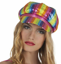 LADIES MENS 1960s 1970s QUANT STYLE GAY PRIDE MULTICOLOURED RAINBOW CAP HAT NEW