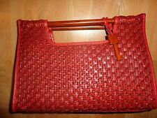 FOSSIL~Rare Brick/Brown Woven Leather w/Wooden Handles Satchel/Hand Bag~