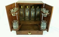 "VTG 1950's Japanese ""Open Sesame"" mini bar liquor cabinet w/ Glasses & Decanters"