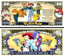 POKEMON - BILLET de COLLECTION 1 MILLION DOLLAR US ! PIKACHU Série Jeu Vidéo
