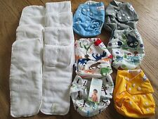 BUM GENIUS, THIRSTIES, ALVA CLOTH DIAPER LOT, 6 COVERS, 8 LINERS, DINO,  EUC