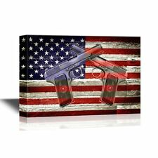 wall26 - Canvas Wall Art - Two Hand Guns on American Flag Background - 24x36