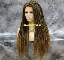 "36"" Black Blonde Mix Box Braided Full Lace Front Wig Poetic Justice Hair Piece"