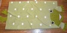 """Soft Green Fleece Baby Blanket White Polka Dots and Frog 70"""" by 45"""""""