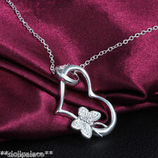 925 Silver Plated Heart Butterfly Pendant Chain Necklace *UK*