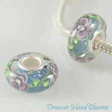 PURPLE FLOWER MURANO GLASS CZ CRYSTAL .925 Sterling Silver EUROPEAN Bead Charm